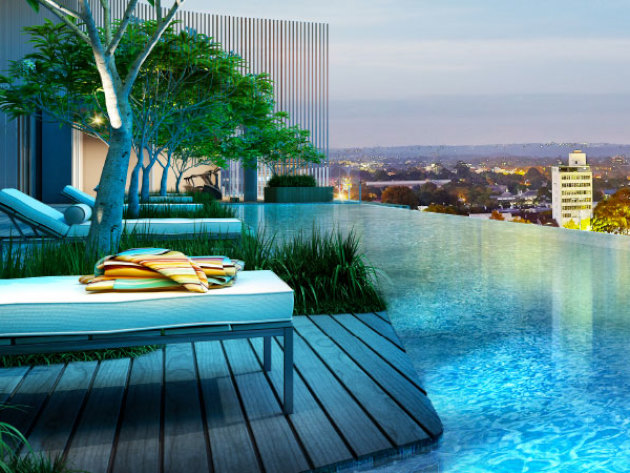 Infinity pool at Waterfall by Crown Group, Waterloo